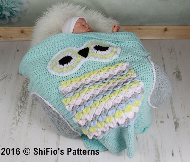 Download CP348 Owl Baby Blanket Crochet Pattern # 348 - Crochet Patterns immediately at Makerist