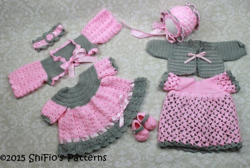 Cp25 2 Dresses 2 Shrugs Headband Hat And Shoes Baby Crochet