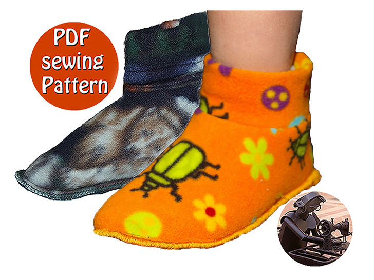 Download Children slippers -  Sizes 23 to 31 (US 6½ to 13) French/english PDF sewing pattern  - Sewing Patterns immediately at Makerist