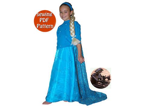 Download Princess costume - Gown train & bodice - Sizes 92 to 178 (US 3 to 16 ans) - French/english PDF sewing pattern  immediately at Makerist