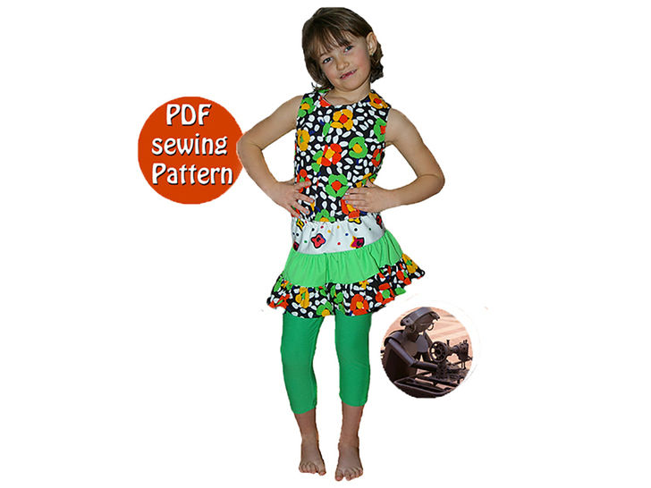 Download Reversible blouse ruffle skirt & skintight leggings - Girl sizes  - French/english PDF sewing pattern  - Sewing Patterns immediately at Makerist