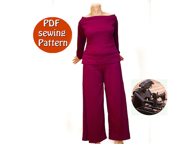 Download Extensible high waisted pants and sweater for women - Sizes 42 44 46 48 (US 16 18 20 22) - French/english PDF sewing pattern  - Sewing Patterns immediately at Makerist