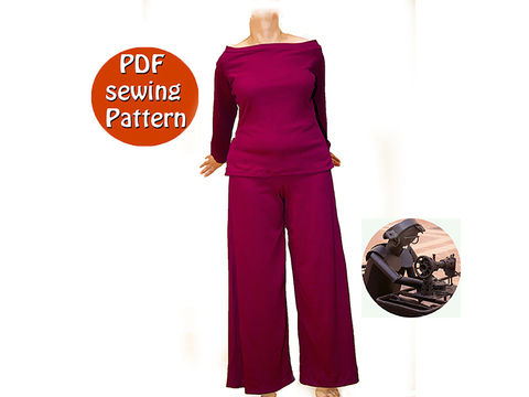 Download Extensible high waisted pants and sweater for women - Sizes 50 52 54 56 (US 24 26 28 30) - French/english PDF sewing pattern  - Sewing Patterns immediately at Makerist