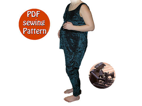 Download Multisizes Hobo pants and top pregnancy pattern - Harem pants low fork - French/english PDF sewing pattern  immediately at Makerist