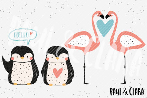 Plottervorlage Pinguin & Flamingo Love bei Makerist sofort runterladen