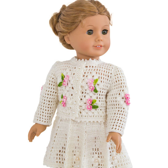 Download Summer  cardigan and skirt 18 inch  dolls  - Crochet Patterns immediately at Makerist