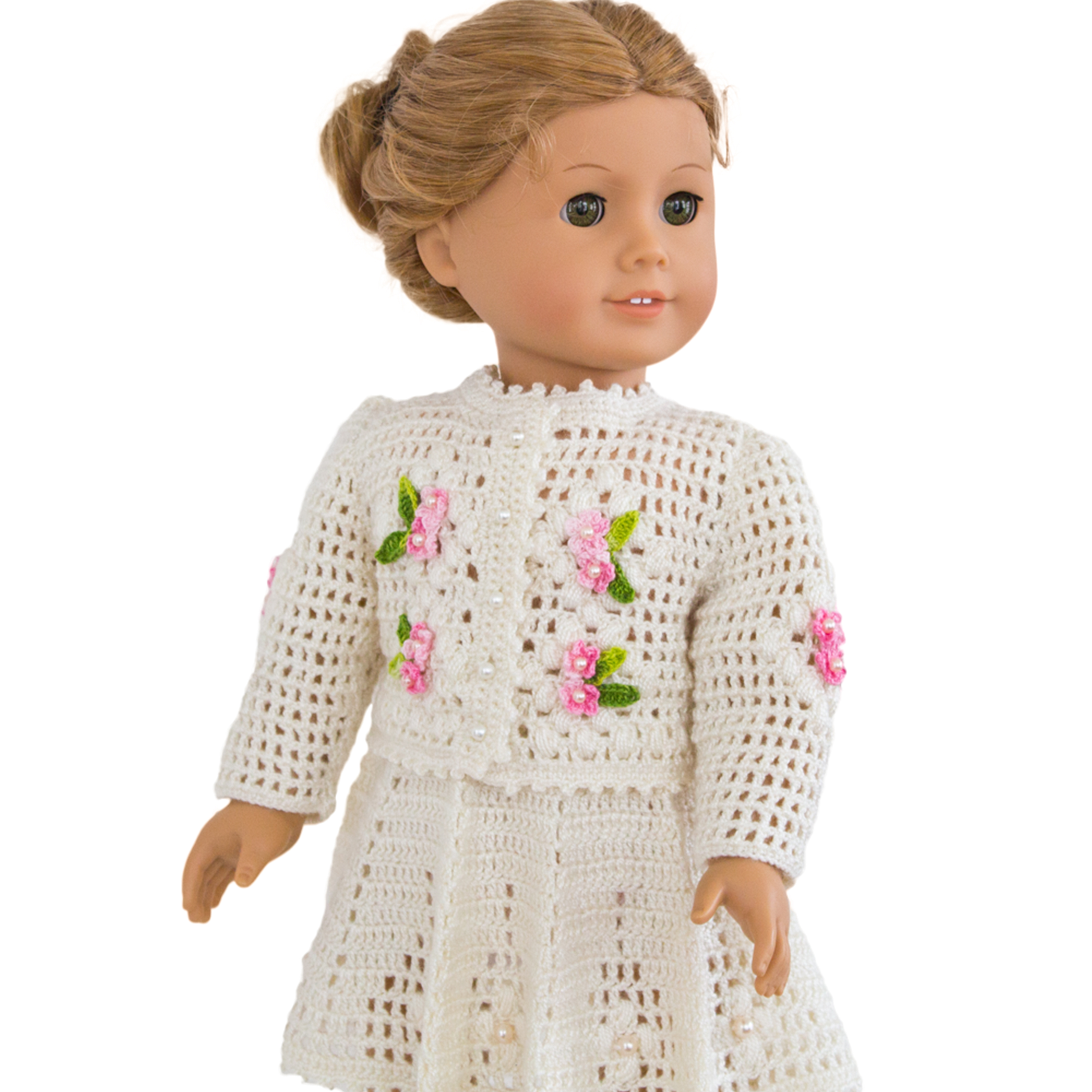 Knit And Crochet Patterns For 18 Inch Dolls : Crochet summer cardigan and skirt for 18 inch / 45 cm dolls.