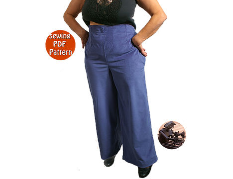 Download Empire waist pants for women - Plus sizes - T 40 42 44 46 48 (US 14 16 18 20 22) - French/english PDF sewing pattern  - Sewing Patterns immediately at Makerist