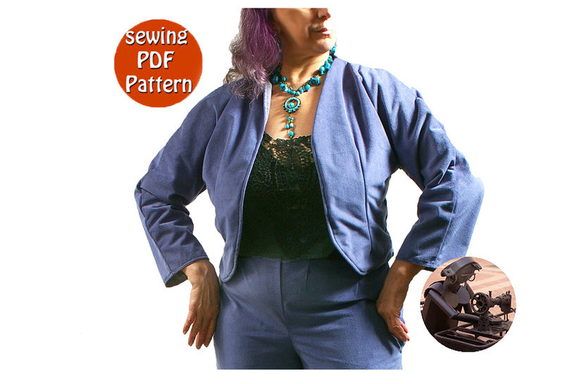 Download Reversible short jacket for women - T 38 40 42 44 (US 12-14-16-18) - French/english PDF sewing pattern  - Sewing Patterns immediately at Makerist