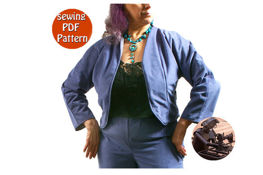 Download Reversible short jacket for women - Plus sizes 44 46 48 50 (US 18 20 22 24) - French/english PDF sewing pattern  - Sewing Patterns immediately at Makerist