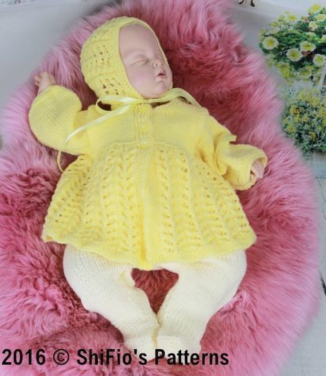 Download KP352  Lemon Matinee jacket , leggings and hat Baby Knitting Pattern #352 - Knitting Patterns immediately at Makerist