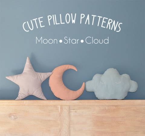 Download Moon - Star - Cloud Pillow Sewing Pattern // Make your own // Toy Pattern  immediately at Makerist