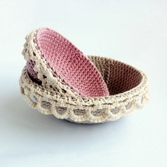 Download Lace-edged Nesting Bowls Crochet Pattern - Crochet Patterns immediately at Makerist