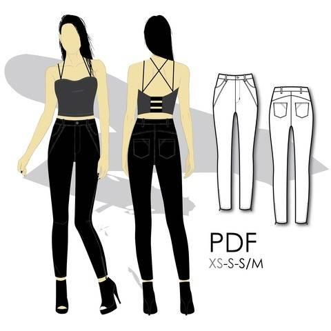 Télécharger Jeans stretch coupe skinny à taille haute et fermoirs aux chevilles - S - couture tout de suite sur Makerist