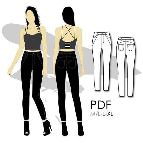 Télécharger Jeans stretch coupe skinny à taille haute et fermoirs aux chevilles - L - couture tout de suite sur Makerist