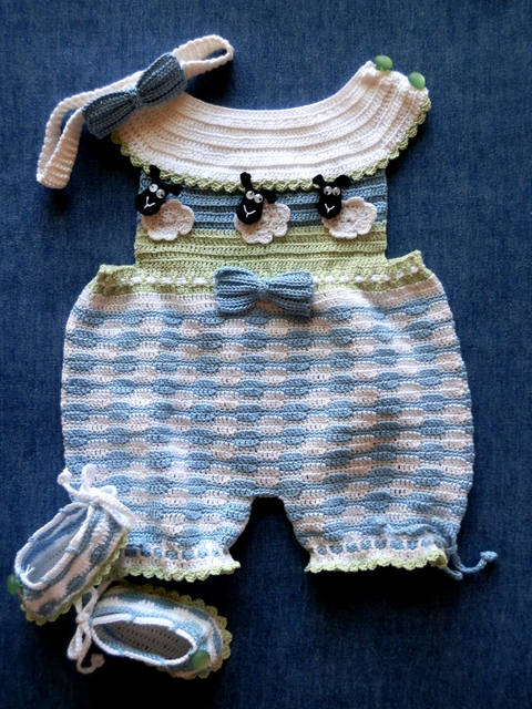 Download Newborn Romper Sunsuit Crochet Pattern with Matching Shoes and Headband immediately at Makerist