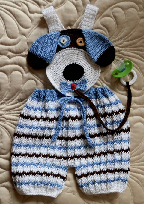 Download Baby Boy Puppy Face Overalls with Binky Lariat  Crochet Pattern immediately at Makerist