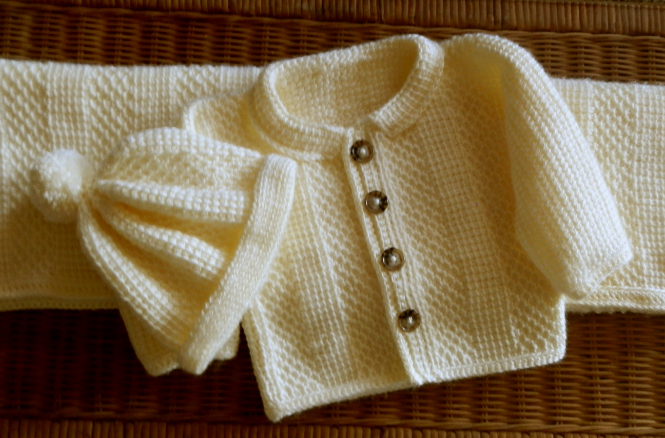 Baby Sweater Matching Hat Set And Blanket Tunisian Crochet Pattern 24mo