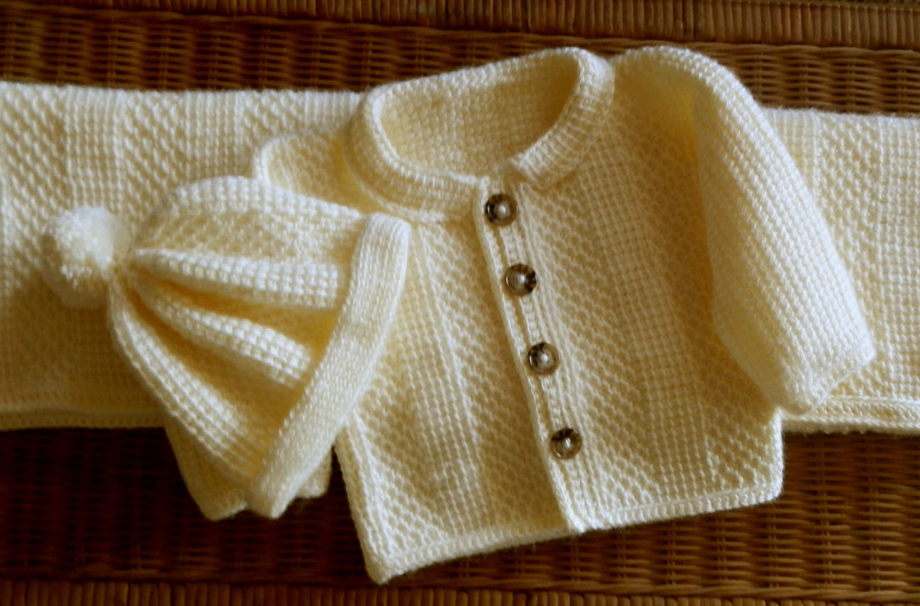 Baby Sweater Matching Hat Set and Blanket! Tunisian Crochet Pattern 24mo