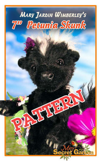 "Download 7 "" (18 cm) Lifelike Jointed Mohair Skunk, Realistic, Teddy Bear Style Skunk, Artist Skunk, Woodland Animal Sewing Pattern - Sewing Patterns immediately at Makerist"