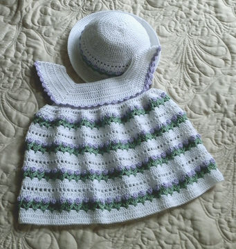 Download Baby Girl Dress and Bonnet 18 to 24 mo Crochet Pattern - Crochet Patterns immediately at Makerist