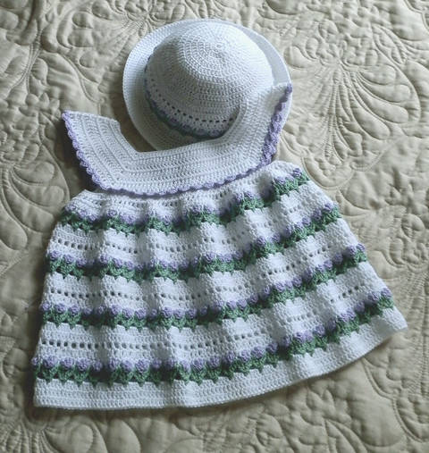 Download Baby Girl Dress and Bonnet 18 to 24 mo Crochet Pattern immediately at Makerist