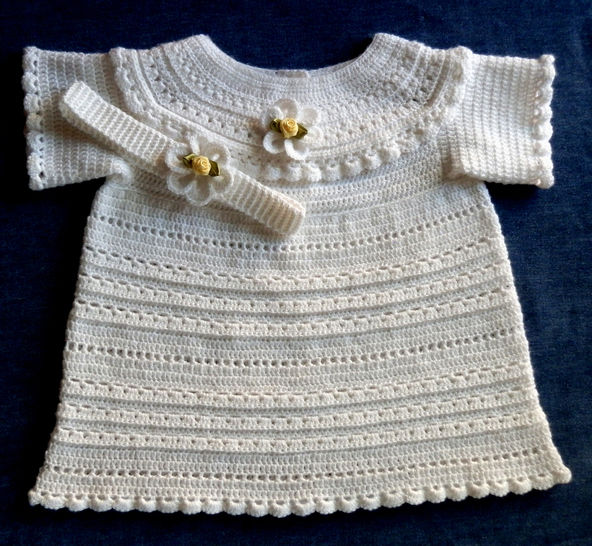 Download Special Occassion Newborn Baby Dress Long or Short Crochet Pattern  - Crochet Patterns immediately at Makerist