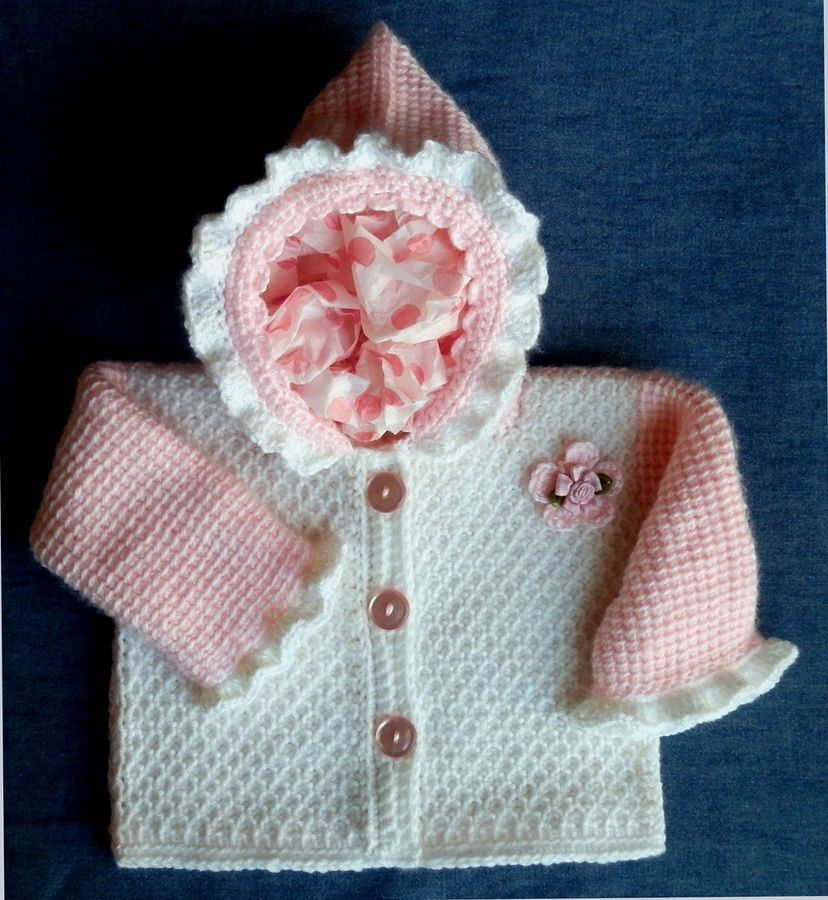 Baby Girl Hoodie Jacket Pattern! Tunisian Crochet 9-12mo