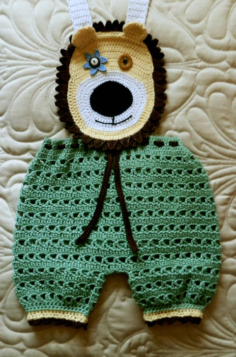Download Baby Boy Crochet Lion Face Overalls! Crochet Pattern 9-12 mo immediately at Makerist
