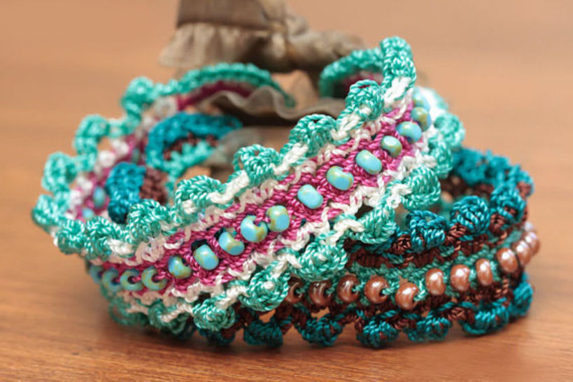 Crochet Beaded Cuff Bracelet Pattern 28
