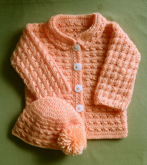 Baby Girl Or Boy Sweater Jacket And Hat Crochet Pattern 24 Months