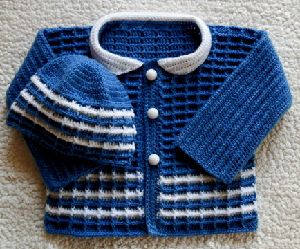 Download Newborn Boy or Girl Sweater and Hat Crochet Pattern - Crochet Patterns immediately at Makerist