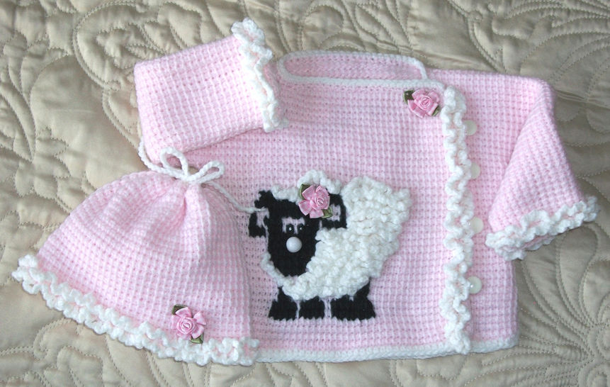Download Baby Girl Sheep Sweater Set Tunisian Crochet 6-9mo  Pattern - Crochet Patterns immediately at Makerist