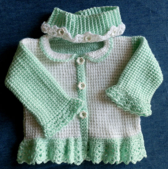 Download Baby Girl Sweater and Matching Headwarmer  9 to 12 mo Pattern  - Crochet Patterns immediately at Makerist