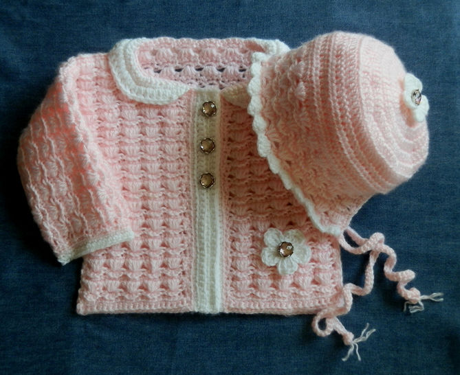 Download Baby Girl Sweater and Matching Bonnet  12 months - Crochet Patterns immediately at Makerist