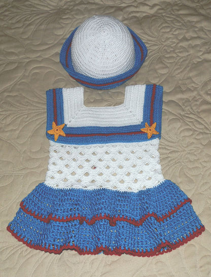 Download Baby Girl Sailor Dress and Hat 18 to 24 mo #3 Cotton Thread - Crochet Patterns immediately at Makerist