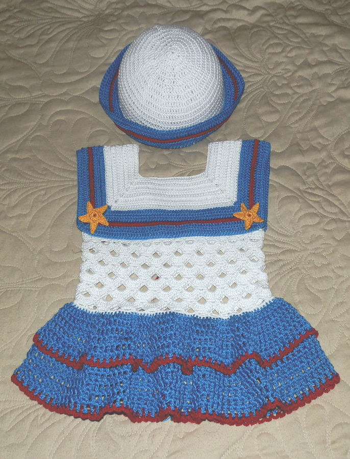 Baby Girl Sailor Dress And Hat 18 To 24 Mo 3 Cotton Thread