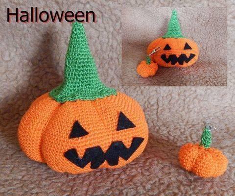Halloween Kürbis mit Schlüsselanhänger - Häkelanleitung  bei Makerist sofort runterladen