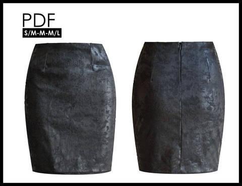 Télécharger Jupe courte fourreau, doublée, taille haute - M - couture tout de suite sur Makerist