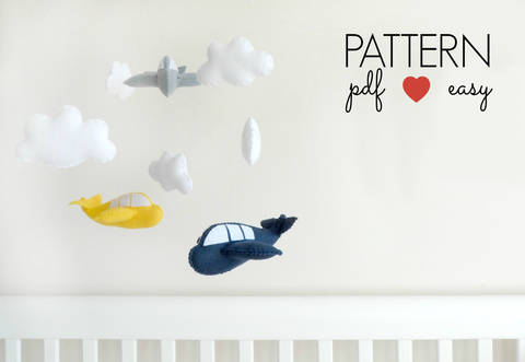 Download Felt Aeroplane Airplane Sewing Pattern  immediately at Makerist