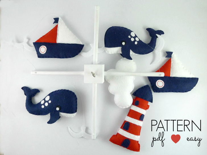 Baby Mobile Sewing Pattern - Boys Nautical Baby Mobile - Felt Sewing ...