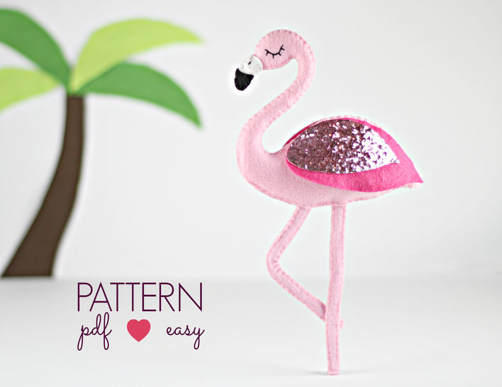 Download Flamingo Felt Sewing Pattern  - Sewing Patterns immediately at Makerist
