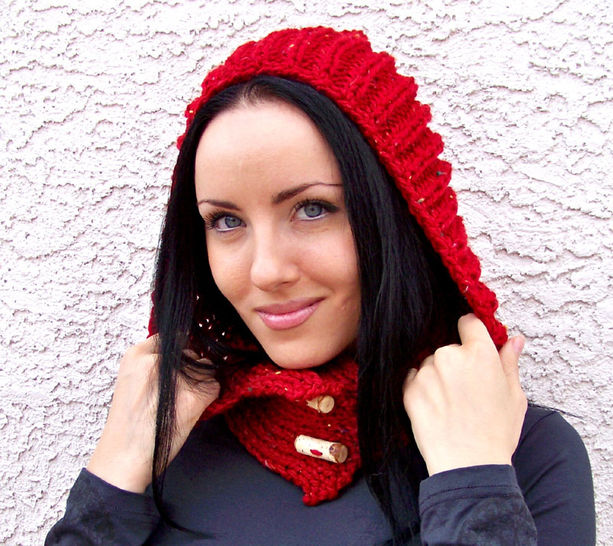 Download Hooded Scarf, Chunky Hood, Knit Hood, Hood Scarf - Knitting Patterns immediately at Makerist