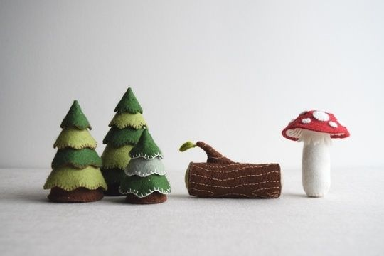 Download Woodland playset sewing pattern – DIY embroidery sewing pattern for toadstool, log and trees softies – woodland theme soft toy tutorial - Sewing Patterns immediately at Makerist