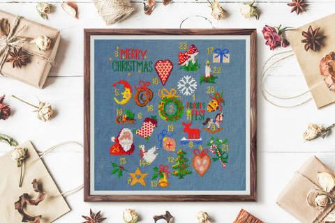 Adventskalender Kreuzstich Weihnachten  bei Makerist sofort runterladen