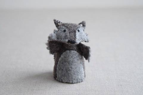 Download The Wolf - Finger Puppet Sewing Pattern - DIY Mini plushie pattern for felt Wolf from Red Riding Hood Soft Toy immediately at Makerist