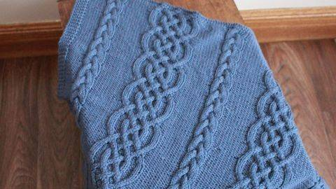 Kp316 Baby Butterfly Cable Stitch Blanket Afghan Baby Knitting