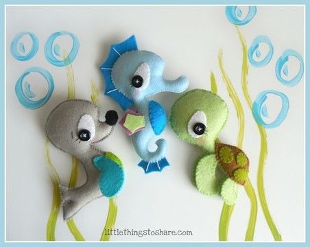 Splash sea animals set of three pdf sewing pattern for Sea animal baby mobile