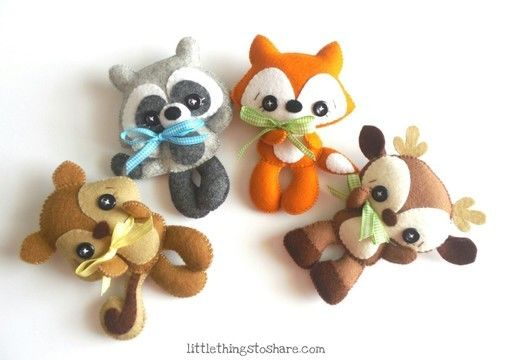 Download Woodland Animals set of Four PDF sewing pattern-Deer, Fox, Raccoon, Squirrel-Woodland Animals ornaments-Nursery decor-Baby's mobile toy - Sewing Patterns immediately at Makerist