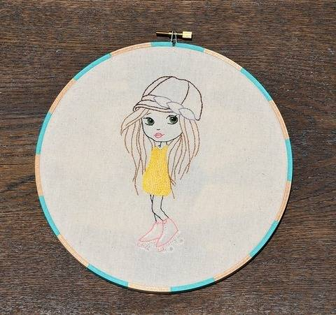 Download Let the Good Times Roll - Girl in Roller Skates, Hand Embroidery PDF Pattern immediately at Makerist